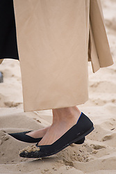 Sand on the Duchess of Sussex's shoes as she walks on South Melbourne Beach during their visit to Melbourne, on the third day of the royal couple's visit to Australia.
