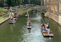 © Licensed to London News Pictures. 28/08/2021. London, UK. Visitors to Cambridge enjoy the bank holiday weekend by taking rides on Punts on the River Cam. Photo credit: Dinendra Haria/LNP