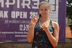 May 20, 2018 - Trnava, Slovakia - VIKTORIA KUZMOVA of Slovakia poses for a photo after winning the Empire Slovak Open tennis tournament in Trnava Slovakia (Credit Image: © Christopher Levy via ZUMA Wire)