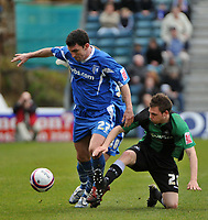 Photo: Tony Oudot/Richard Lane Photography. <br /> Gilingham Town v Swansea City. Coca-Cola League One. 12/04/2008. <br /> Kevin Maher of Gillingham is tackled by Paul Anderson of Swansea