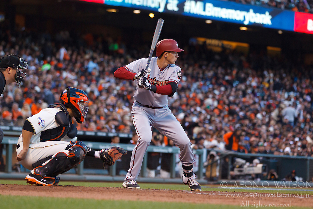 SAN FRANCISCO, CA - APRIL 18:  Nick Ahmed #13 of the Arizona Diamondbacks at bat against the San Francisco Giants during the fifth inning at AT&T Park on April 18, 2015 in San Francisco, California.  The San Francisco Giants defeated the Arizona Diamondbacks 4-1. (Photo by Jason O. Watson/Getty Images) *** Local Caption *** Nick Ahmed