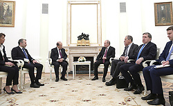 March 26, 2019 - Moscow, Russia - Russian President Vladimir Putin during a bilateral meeting with Lebanese President Michel Aoun, left, at the Kremlin March 26, 2019 in Moscow, Russia. (Credit Image: © Kremlin Pool via ZUMA Wire)