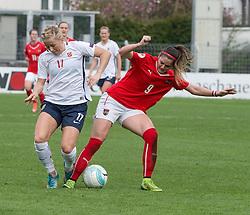 10.04.2016, Vorwärts Stadion, Steyr, AUT, UEFA Frauen EM Qualifikation, Oesterreich vs Norwegen, Gruppe 8, im Bild v.l. Lene Mykjaland (NOR) und Sarah Zadrazil (AUT) // f.l.t.r. Lene Mykjaland of Norway and Sarah Zadrazil of Austria during womens UEFA Euro qualifier, group 8 match between Austria and Norway at the Vorwärts Stadion in Steyr, Austria on 2016/04/10. EXPA Pictures © 2016, PhotoCredit: EXPA/ Reinhard Eisenbauer