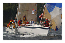 Yachting- The first days inshore racing  of the Bell Lawrie Scottish series 2002 at Tarbert Loch Fyne. Near perfect conditions saw over two hundred yachts compete. <br />Elan 333 Salamander XVI 3335C ahead of X332 Blyth Spirit GBR6917T in Class 3<br />Pics Marc Turner / PFM