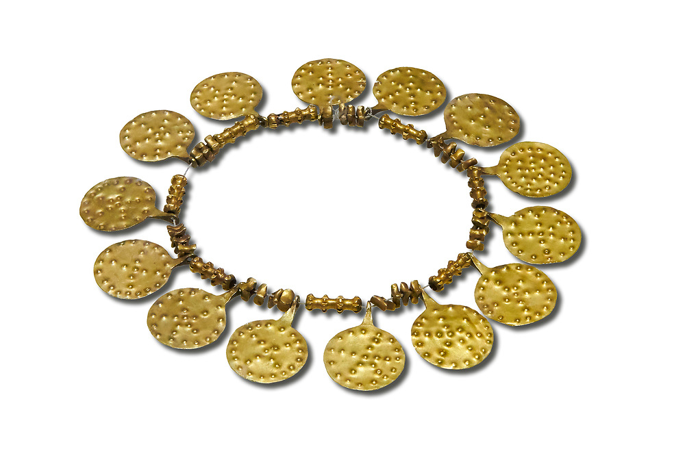 Bronze Age Hattian gold necklace from Grave E,  possibly a Bronze Age Royal grave (2500 BC to 2250 BC) - Alacahoyuk - Museum of Anatolian Civilisations, Ankara, Turkey. Against a white background .<br /> <br /> If you prefer to buy from our ALAMY PHOTO LIBRARY  Collection visit : https://www.alamy.com/portfolio/paul-williams-funkystock/royal-tombs-alaca-hoyuk-bronze-age.html (TIP refine search by adding background colour in the LOWER search box)<br /> <br /> Visit our ANCIENT WORLD PHOTO COLLECTIONS for more photos to download or buy as wall art prints https://funkystock.photoshelter.com/gallery-collection/Ancient-World-Art-Antiquities-Historic-Sites-Pictures-Images-of/C00006u26yqSkDOM