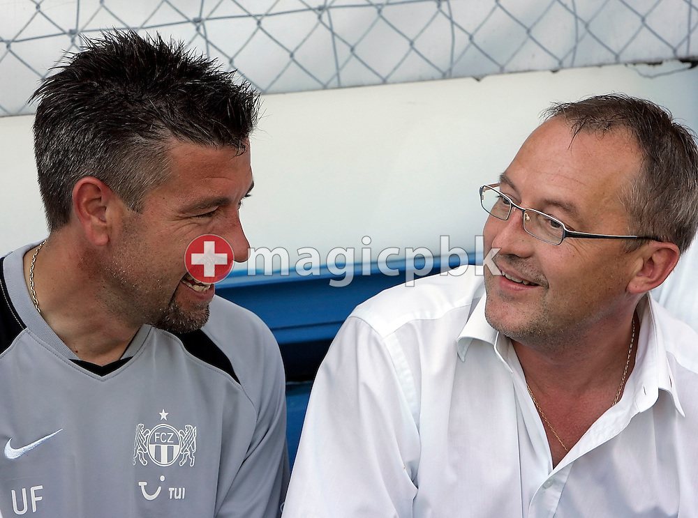(L-R) Zurich's assistant coach Urs Fischer and sports director Fredy Bickel are talking to each other before a charity soccer game between Swiss FC Zuerich and Germany's Bayer 04 Leverkusen at the Hardturm stadium in Zurich, Switzerland, Saturday 14 July 2007. The charity game is dedicated to FC Zurich supporter Roland Maag who got badly hurt a year ago by unidentified hooligans  after a FC Zurich game. (Photo by Patrick B. Kraemer / MAGICPBK)