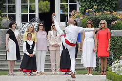 Brigitte Macron, wife of French President Emmanuel Macron, U.S. First Lady Melania Trump , Akie Abe, wife of Japan's Prime Minister Shinzo Abe, Chile's First Lady Cecilia Morel, Jenny Morrison, wife of Australia's Prime Minister Scott Morrison, Malgorzata Tusk, wife of European Council President Donald Tusk and Adele Malpass, wife of World Bank President David Malpass look at Basque dancers in the garden of the Villa Arnaga, House-museum of Edmond Rostand, during a visit on traditional Basque culture in Combo-les-Bains, near Biarritz as part of the G7 summit, August 25, 2019. Photo by Thibaud Moritz/ABACAPRESS.COM