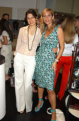 Left to right, KAREN GROSS and TANIA BRYER at a party to launch the Acqualuna jewellery exhibition at Allegra Hicks, 28 Cadogan Place, London on 22nd June 2005.<br />
