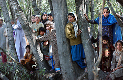 SRINAGAR, KASHMIR - SEPT. 22: Children watch a rally of Jammu and Kashmir National Conference president Omar Abdullah  on Dal Lake in the capital Srinagar of Indian Kashmir Sept. 22, 2002. Violence has marred the elections with nearly 500 people killed, including a state minister since the poll was called on August 2.  (Photo by Ami Vitale/Getty Images)