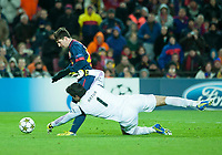 Fotball , 5. desember 2012 , Champions League FC Barcelona- SL Benfica<br /> Lionel Messi , Barcelona<br /> Artur  , Benfica<br /> Norway only