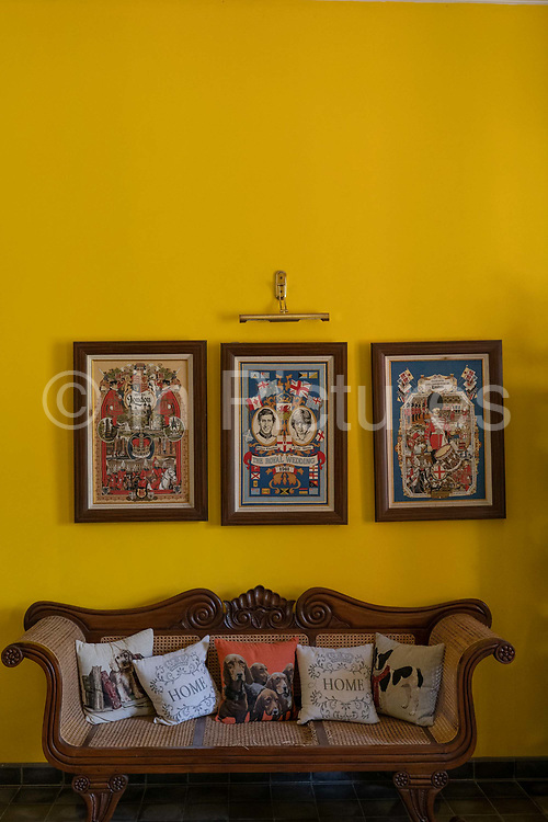 A colonial themed guesthouse in Batu Karas featuring artwork of the British Royal family on the 27th October 2019 in Java in Indonesia.