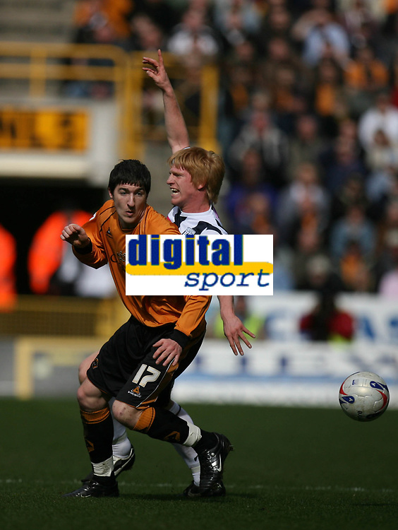 Photo: Rich Eaton.<br /> <br /> Wolverhampton Wanderers v West Bromwich Albion. Coca Cola Championship. 11/03/2007. Stephen Ward #17 of Wolves and Paul McShane of West Brom