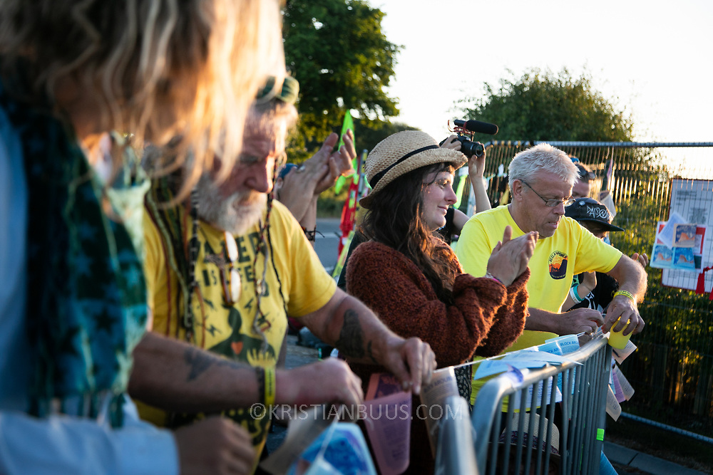 Block Around the Clock - fourty eight hours of party, work shops, yoga, sleeping  and anti-fracking campaigning in front of the gates to Cuadrilla's fracking site in New Preston Road, Lancashire. The Cuadrilla site in Lancashire in a highly contested site, almost ready to extract gas. Block Around the Clock is part of a nationwide campaign to prevent fracking in Lancashire and across the England ( fracking is either banned or put on hold  in Scotland, Wales and Northern Ireland.)