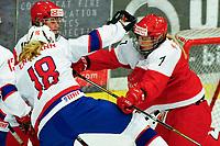 BILDET INNGÅR IKEK I FASTAVTALER. ALL NEDLASTING BLIR FAKTURERT.<br /> <br /> Ishockey<br /> VM kvinner<br /> Norge<br /> Foto: imago/Digitalsport<br /> NORWAY ONLY<br /> <br /> DK, IIHF WW DivIa, Denmark (DK) vs Norway (NOR) 29.03.2016, Gigantium, Aalborg, DK, IIHF WW DivIa, Denmark (DK) vs Norway (NOR), im Bild kaempfen Josefine Biseth Engmann (Norway 18) und Malene Frandsen (Denmark 7)