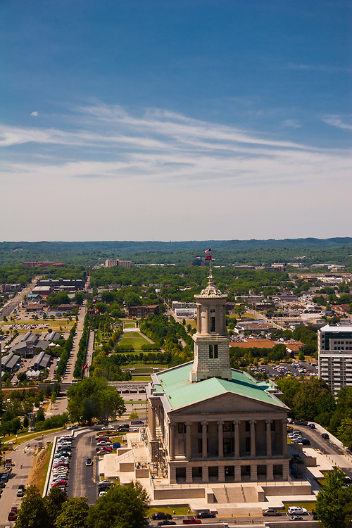 Tennessee State Capitol in Nashville, USA. The majestic Tennessee State Capitol, completed in 1859, is located on a high hill in downtown Nashville. It was one of the most magnificent public buildings of its time, anywhere in the U.S.