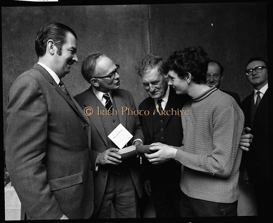 Hovis Family Bakery Competition..1971..23.02.1971..02.23.1971..23rd February 1971..At the Hibernian Hotel, Dublin, Ranks Ireland Ltd.,held the prize giving and celebration lunch for The Hovis Family Bakery Competition winners..Photograph of the Novice Section prize winner, Mr Patrick O'Neill,Main Street, Wexford. Included in the photograph (L-R) Mr H L Donovan, Managing Director,Ranks Irl Ltd, Mr P L Greenwood,Deputy Director, Ranks Irl Ltd, and Mr p P Walsh, Hovis Senior Representative.
