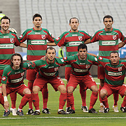 Karsiyakaspor's (Left to Right) (Front side) Taha YALCINER, Volkan OZCAN, Ayhan EVREN, Mutlu KIZILTAN, Kivanc KARAKAS (Left to Right) (Back Side) goalkeeper Ramazan KURSUNLU, Kerem SARIHAN, Saffet Gurur YAZAR, Koksal YEDEK, Fuat ERARSLAN, Okan OZTURK during their Play Off First leg match at Ataturk olympic Stadium in Istanbul Turkey on Monday, 17 May 2010. Photo by TURKPIX