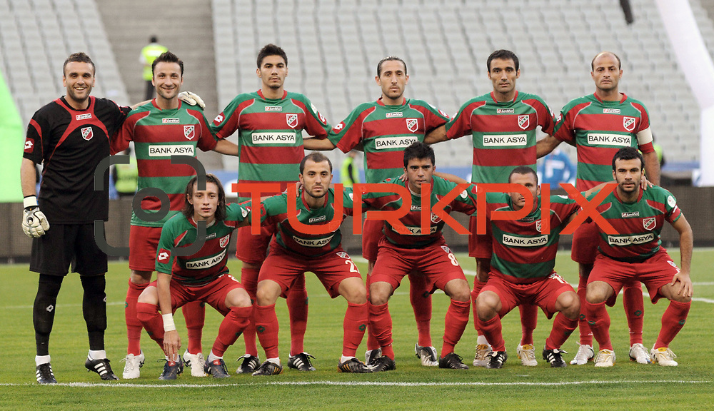 Karsiyakaspor's (Left to Right) (Front side) Taha YALCINER, Volkan OZCAN, Ayhan EVREN, Mutlu KIZILTAN, Kivanc KARAKAS (Left to Right) (Back Side) goalkeeper Ramazan KURSUNLU, Kerem SARIHAN, Saffet Gurur YAZAR, Koksal YEDEK, Fuat ERARSLAN, Okan OZTURK during their Play Off First leg match at Ataturk olympic Stadium in Istanbul Turkey on Monday, 17 May 2010. Photo by TURKPIX
