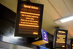 © Licensed to London News Pictures. 26/08/2017. London, UK. A notice at Euston station in London, which is closed over the bank holiday weekend for upgrade work.  .Passengers travelling over the bank holiday have been warned not to use trains as major engineering work affecting several lines is predicted to cause travel chaos. Photo credit: Ben Cawthra/LNP
