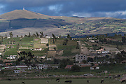 Panorama of the outskirts of Latacunga, city founded in 1534 and located at 2,760 meters above sea level at the base of the Cotopaxi volcano. Latacunga , Cotopaxi, Ecuador. February 18, 2013.