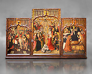 Gothic Catalan altarpiece of, left to right, the martydom of St Bartholomew, Calvaty and the deat of St Mary Magdelene, by Jaume Huguet, Barcelona circa 11465-1480, tempera and gold leaf on for wood, from the church of San Marti de Petegas de san Seloni, Valle Oriental, Spain.  National Museum of Catalan Art, Barcelona, Spain, inv no: MNAC   24365. Against a grey textured background. .<br /> <br /> If you prefer you can also buy from our ALAMY PHOTO LIBRARY  Collection visit : https://www.alamy.com/portfolio/paul-williams-funkystock/gothic-art-antiquities.html  Type -     MANAC    - into the LOWER SEARCH WITHIN GALLERY box. Refine search by adding background colour, place, museum etc<br /> <br /> Visit our MEDIEVAL GOTHIC ART PHOTO COLLECTIONS for more   photos  to download or buy as prints https://funkystock.photoshelter.com/gallery-collection/Medieval-Gothic-Art-Antiquities-Historic-Sites-Pictures-Images-of/C0000gZ8POl_DCqE