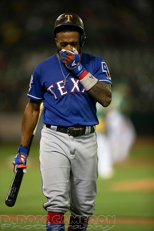 Jul 25, 2019; Oakland, CA, USA; Texas Rangers center fielder Delino DeShields (3) reacts after popping out to first base during the seventh inning of a baseball game against the Oakland Athletics at Oakland Coliseum. Mandatory Credit: D. Ross Cameron-USA TODAY Sports