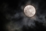 Middletown, New York - The moon and clouds on April 2, 2015.