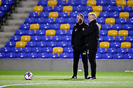 AFC Wimbledon coach Mark Robinson and AFC Wimbledon assistant manager Nick Daws taking training during the EFL Trophy match between AFC Wimbledon and U21 Arsenal at Plough Lane, London, United Kingdom on 8 December 2020.