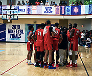 NORTH AUGUSTA, SC. July 10, 2019. Team huddle at Nike Peach Jam in North Augusta, SC. <br /> NOTE TO USER: Mandatory Copyright Notice: Photo by Jon Lopez / Nike