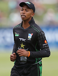 Mbasa Gqadushe of Hollywoodbets Dolphins during the T20 Challenge cricket match between the Dolphins and the Cobras at the Kingsmead stadium in Durban, KwaZulu Natal, South Africa on the 4th December 2016<br /> <br /> Photo by:   Steve Haag / Real Time Images