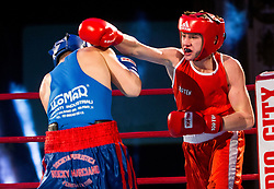 Biagio Grimaldi of Italy (BLUE) fights against Tomi Lorencic of Slovenia (RED) in Junior 63 kg Category during Dejan Zavec Boxing Gala event in Ljubljana, on March 11, 2017 in Grand Hotel Union, Ljubljana, Slovenia. Photo by Vid Ponikvar / Sportida