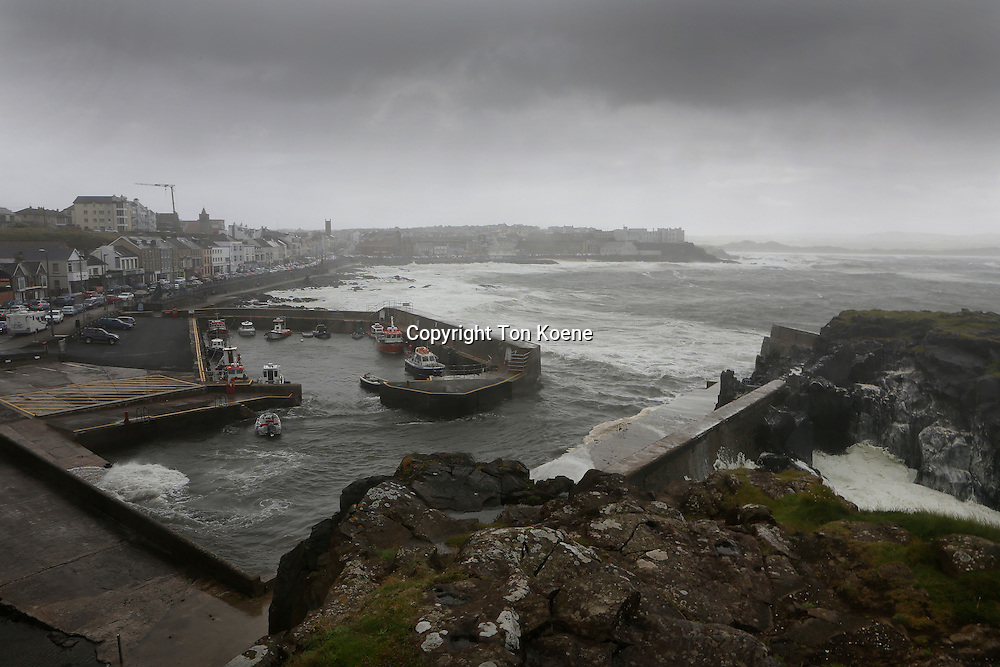 harbor of Portstewart during stormy weather