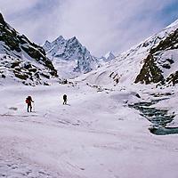 Great Himalaya Range, Ladakh, India. Ski mountaineers begin two-week, trans-Himalaya ski tour above Panikarh in Suru Valley.