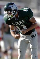 07 October 2006: Nick Panno clinches his fist in exultation after completing a long pass for a TD. The Titans of Illinois Wesleyan University started off strong with a touchdown on the 2nd play from scrimmage in the game.  The Titans led most of the way, but failed to maintain the lead in the 4th quarter giving up the decision of this CCIW conference game to the Red Men of Carthage by a score of 31 - 28. Action was at Wilder Field on the campus of Illinois Wesleyan University in Bloomington Illinois.<br />