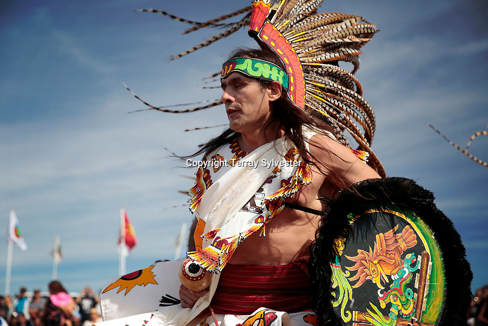 Jorge Garcia of Albuquerque, New Mexico, performs with a troupe of Aztec dancers in the opposition camp against the Dakota Access oil pipeline on September 10, 2016. Cannon Ball, North Dakota, United States.