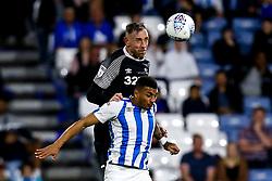 Richard Keogh of Derby County beats Karlan Grant of Huddersfield Town to a header - Mandatory by-line: Robbie Stephenson/JMP - 05/08/2019 - FOOTBALL - The John Smith's Stadium - Huddersfield, England - Huddersfield Town v Derby County - Sky Bet Championship