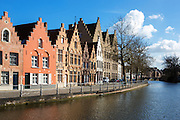 Houses with stepped roofs in the quaint Belgian town of Bruges