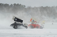 #11 Tunk Berry and #01 DJ Mills racing in the Sprint class on Sunday afternoon during the Nostalgic Latchkey Cup on Meredith Bay.  (Karen Bobotas/for the Laconia Daily Sun)