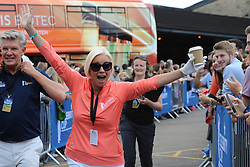 © Licensed to London News Pictures. 01/07/2017. London, UK, Actress Denise Van Outen waves to the supporters during The 2017 Celebrity Cup golf tournament at the Celtic Manor Resort, Newport, South Wales. Photo credit: Jeff Thomas/LNP