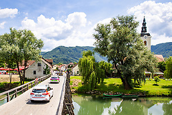 Cars on the bridge and a view of Kostanjevica na Krki during 3rd Stage of 27th Tour of Slovenia 2021 cycling race between Brezice and Krsko (165,8 km), on June 11, 2021 in Slovenia. Photo by Matic Klansek Velej / Sportida