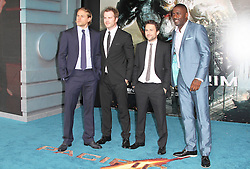 @ London News PIctures. Charlie Hunnam; Robert Kazinsky; Charlie Day; Idris Elba at  Pacific Rim European Film Premiere, BFI IMAX Waterloo, London UK, 04 July 2013. Photo by Richard Goldschmidt/LNP
