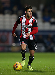 """Sheffield United's George Baldock in action during the game during the Sky Bet Championship match at Loftus Road, London. PRESS ASSOCIATION Photo. Picture date: Tuesday October 31, 2017. See PA story SOCCER QPR. Photo credit should read: Steven Paston/PA Wire. RESTRICTIONS: EDITORIAL USE ONLY No use with unauthorised audio, video, data, fixture lists, club/league logos or """"live"""" services. Online in-match use limited to 75 images, no video emulation. No use in betting, games or single club/league/player publications."""