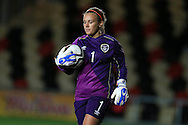 Grace Moloney, the Rep of Ireland goalkeeper looks on. Friendly International Womens football, Wales Women v Republic of Ireland Women at Rodney Parade in Newport, South Wales on Friday 19th August 2016.<br /> pic by Andrew Orchard, Andrew Orchard sports photography.