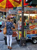 Hotdog stand along Fifth Avenue, New York City