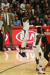 December 17, 2018 - Los Angeles, CA, U.S. - LOS ANGELES, CA - DECEMBER 17: Los Angeles Clippers Guard Patrick Beverley (21) shooting a jumper during the Portland Trail Blazers at Los Angeles Clippers NBA game on December 17, 2018 at Staples Center in Los Angeles, CA.. (Photo by Jevone Moore/Icon Sportswire) (Credit Image: © Jevone Moore/Icon SMI via ZUMA Press)