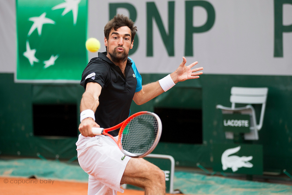 Paris, France. Roland Garros. May 26th 2013.<br /> French player Jeremy CHARDY against Benjamin BECKER