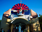 19 NOVEMBER 2017 - HWAMBI, YANGON REGION, MYANMAR: The front of Sacred Heart's Catholic Church in Hwambi, about 90 minutes north of Yangon. Catholics in Myanmar are preparing for the visit of Pope Francis. He is coming to the Buddhist majority country November 27-30. There about 500,000 Catholics in Myanmar, about 1% of the population. Catholicism was originally brought to what is now Myanmar more than 500 years ago by Portuguese missionaries and traders.    PHOTO BY JACK KURTZ