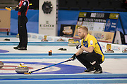 """Glasgow. SCOTLAND. Sweden """"Skip"""" Niklas EDIN, uses his brush to signals to his team mates, at the Le Gruyère European Curling Championships. 2016 Venue, Braehead  Scotland<br /> Sunday  20/11/2016<br /> <br /> [Mandatory Credit; Peter Spurrier/Intersport-images]"""