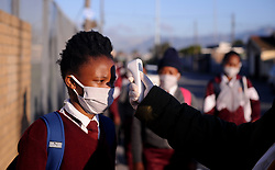 South Africa Cape Town 21 June 2020 Teachers at Sinethemba High School  in Philippi testing temparature of grade 12 learners Photographer Ayanda Ndamane African News Agency/ANA
