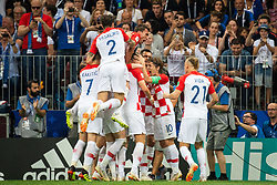 July 15, 2018 - Moscow, Russia - 180715 Luka Modric and Ivan Perisic celebrates with team mates after Perisic scored 1-1 during the FIFA World Cup final match between France and Croatia on July 15, 2018 in Moscow..Photo: Petter Arvidson / BILDBYRÃ…N / kod PA / 92087 (Credit Image: © Petter Arvidson/Bildbyran via ZUMA Press)